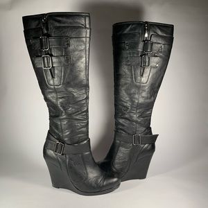 DKNYC Polly leather Knee High black Wedge Boots